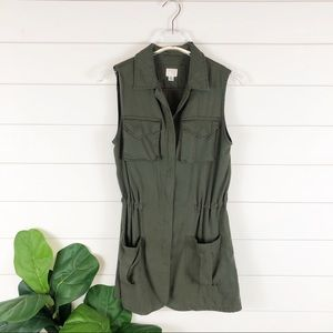 A New Day Army Green Olive Lightweight Flowy Vest